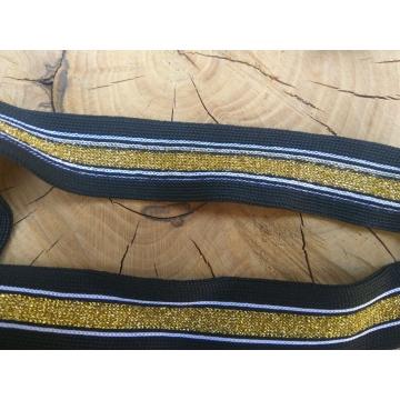 Lampas s lurexem - zlatá s černou Šíře 2,5 cm.