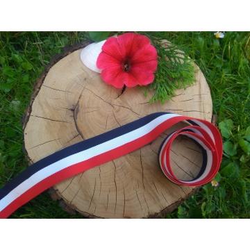 Lampas/rypsová stuha s pruhy modré, bílé a červené barvy. Šíře 3 cm.