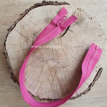 Zip kostěný dělitelný 40cm růžová