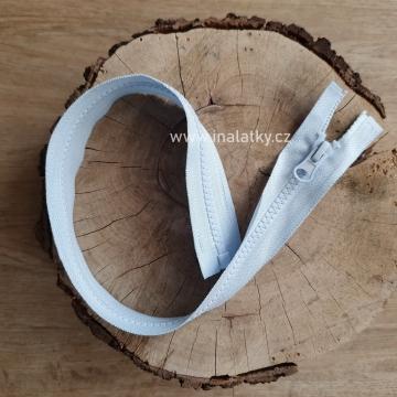 Zip kostěný dělitelný 45cm světle modrá