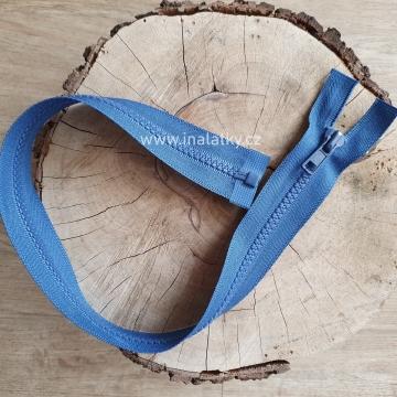 Zip kostěný dělitelný 45cm  modrá
