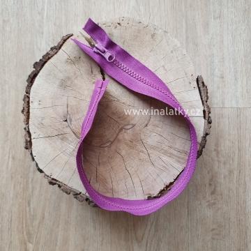Zip kostěný dělitelný 45cm fialová