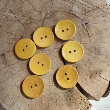 Knoflík dřevěný dekorační cca 30mm - žlutá