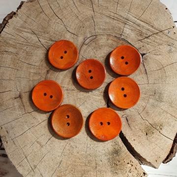 Knoflík dřevěný dekorační cca 30mm - oranžová