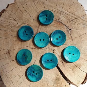 Knoflík dřevěný dekorační cca 30mm -petrolejová